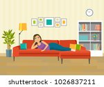 happy young woman lying and... | Shutterstock .eps vector #1026837211