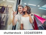 happy young couple with... | Shutterstock . vector #1026850894