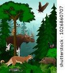 vector woodland green forest...   Shutterstock .eps vector #1026860707