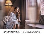 what is she thinking about ... | Shutterstock . vector #1026870541