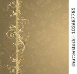 vector brown and golden floral... | Shutterstock .eps vector #102687785