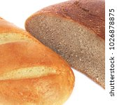 Small photo of Bread on a white background. Black and white bread