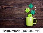 Green Mug With Four Leaf Clove...