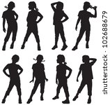 silhouettes of small girls | Shutterstock .eps vector #102688679