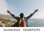 rear view of young guy with... | Shutterstock . vector #1026892291