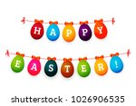 happy easter background with... | Shutterstock .eps vector #1026906535