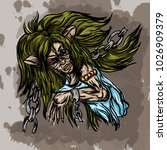 vector illustration of a witch... | Shutterstock .eps vector #1026909379