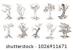 tree silhouettes on white... | Shutterstock .eps vector #1026911671