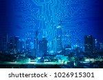 digital circuit line on blue... | Shutterstock . vector #1026915301