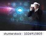 businessman in vr glasses... | Shutterstock . vector #1026915805