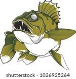 Aggressive walleye illustration