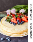 homemade crepes cake with...   Shutterstock . vector #1026930211