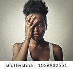 portrait of sad woman | Shutterstock . vector #1026932551
