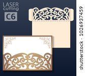 laser cut wedding invitation... | Shutterstock .eps vector #1026937459