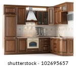 Stock photo beautiful kitchen furniture made of wood in the studio lighting isolated on white 102695657