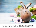 easter background with easter... | Shutterstock . vector #1026968695
