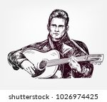 johnny cash vector sketch... | Shutterstock .eps vector #1026974425