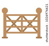 a farmhouse closed gate ... | Shutterstock .eps vector #1026976621