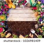 gardening frame   tools and... | Shutterstock . vector #1026981409