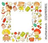 cute children cooking food.... | Shutterstock .eps vector #1026985801