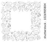 cute children cooking food.... | Shutterstock .eps vector #1026985804
