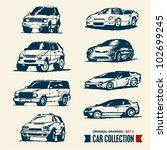car collection. drawing set 2. | Shutterstock .eps vector #102699245