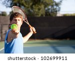 teenager playing tennis with...   Shutterstock . vector #102699911