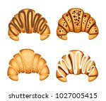 set of croissan with different... | Shutterstock .eps vector #1027005415