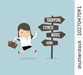 businesswoman with destination... | Shutterstock .eps vector #1027047091