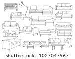 modern long sofa | Shutterstock .eps vector #1027047967