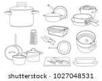 kitchen tool set and food ware | Shutterstock .eps vector #1027048531