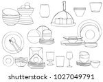 dining set and food ware | Shutterstock .eps vector #1027049791