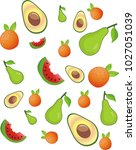 seamless pattern with set of... | Shutterstock .eps vector #1027051039