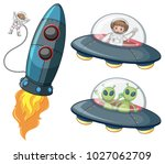 astronaut and aliens in... | Shutterstock .eps vector #1027062709