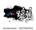holi celebrations   boy playing ... | Shutterstock .eps vector #1027065331