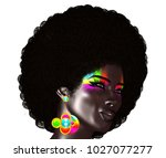 trendy  curly african hair is... | Shutterstock . vector #1027077277