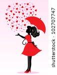 silhouette of a girl under rain ... | Shutterstock .eps vector #102707747
