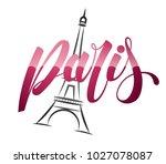 paris and eiffel tower logo... | Shutterstock .eps vector #1027078087