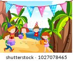 many kids having party on the... | Shutterstock .eps vector #1027078465