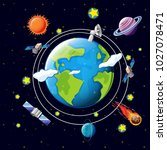 space theme with satellites and ... | Shutterstock .eps vector #1027078471