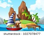 sailor on sailboat at sea... | Shutterstock .eps vector #1027078477
