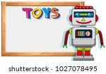 wooden frame with robot toy... | Shutterstock .eps vector #1027078495