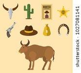 wild western vector cowboy... | Shutterstock .eps vector #1027081141