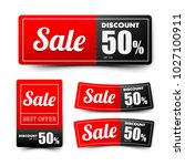 sale text on red tag banner for ... | Shutterstock .eps vector #1027100911