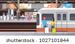 railway station with people... | Shutterstock .eps vector #1027101844