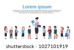 group of kids school children... | Shutterstock .eps vector #1027101919