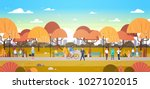 people relaxing outdoors in... | Shutterstock .eps vector #1027102015