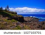 rocky pacific ocean seashore... | Shutterstock . vector #1027103701