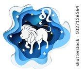 paper art of lion to leo of... | Shutterstock .eps vector #1027126564