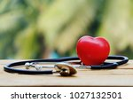 close up red heart and... | Shutterstock . vector #1027132501